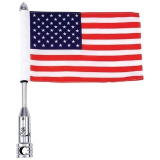Diamond Plate Motorcycle Flagpole Mount and USA Flag