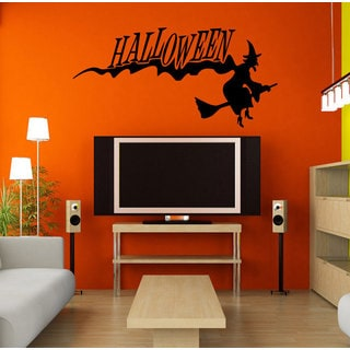 Halloween girl witch on a broomstick Wall Art Sticker Decal