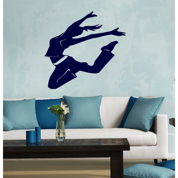 Beautiful girl dancer Wall Art Sticker Decal Blue