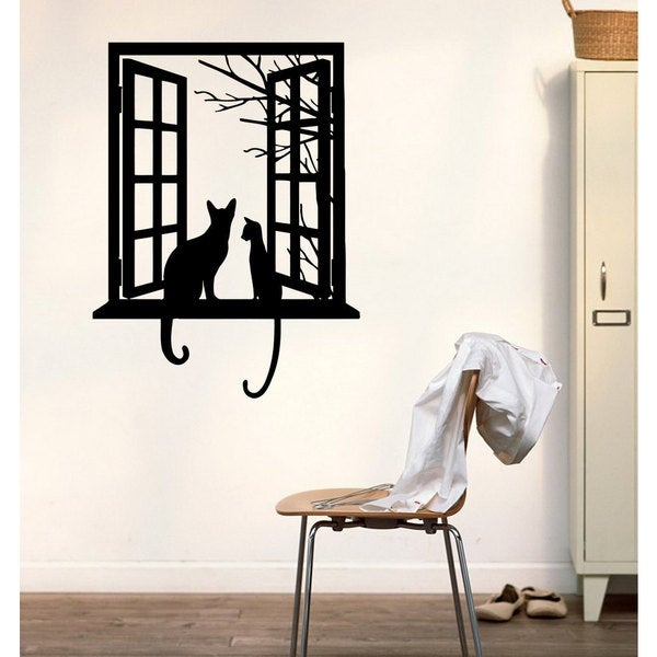Friends cat love amour animals window Wall Art Sticker Decal