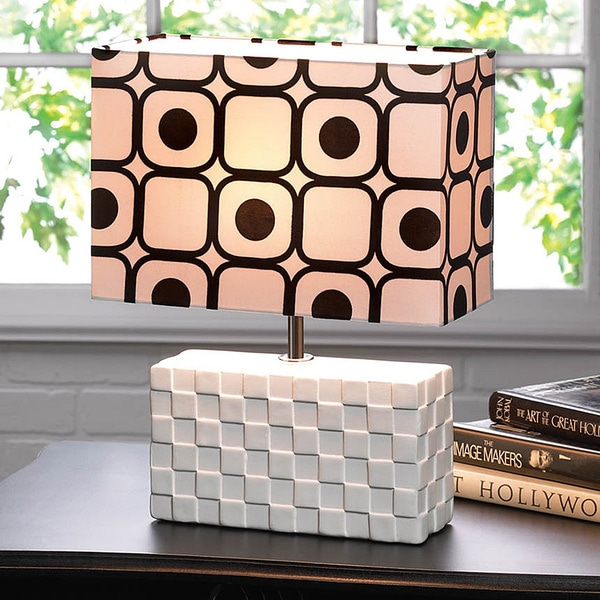 Woven Textured Ceramic Rectangle Table Lamp