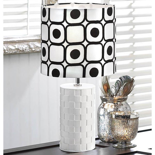 Woven Textured Ceramic Round Table Lamp