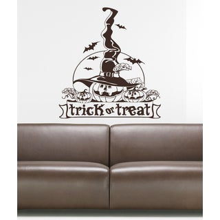 Halloween celebration grim Reaper pumpkin Wall Art Sticker Decal Brown
