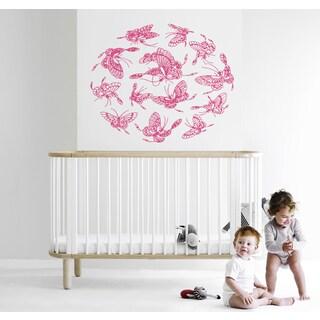 Mandala beautiful butterfly Wall Art Sticker Decal Pink