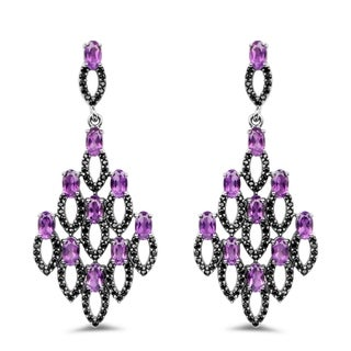 Olivia Leone Sterling Silver 6ct TGW Genuine Amethyst and Black Spinel Earrings