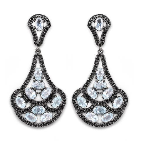 Olivia Leone Sterling Silver 12 1/5ct TGW Genuine Blue Topaz and Black Spinel Earrings