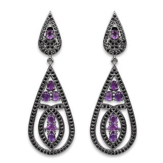 Olivia Leone Sterling Silver 5 1/10ct TGW Genuine Amethyst and Black Spinel Earrings