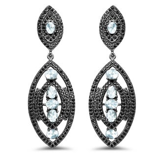 Olivia Leone Sterling Silver 8 7/8ct TGW Genuine Blue Topaz and Black Spinel Earrings