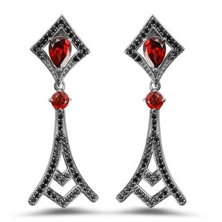Olivia Leone Sterling Silver 7 3/5ct TGW Genuine Garnet and Black Spinel Earrings