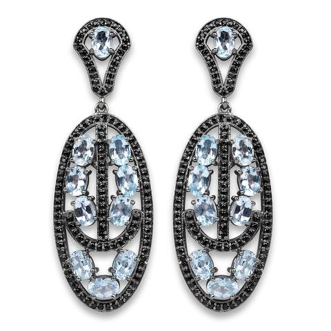 Olivia Leone Sterling Silver 13 7/8ct TGW Genuine Blue Topaz and Black Spinel Earrings