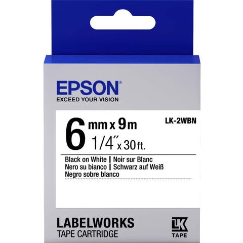 "Epson LabelWorks Standard LK Tape Cartridge ~1/4"" Black on White"