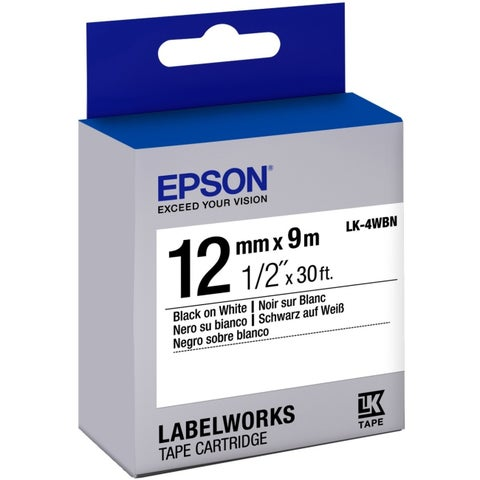 "Epson LabelWorks Standard LK Tape Cartridge ~1/2"" Black on White"