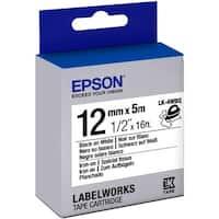 "Epson LabelWorks Iron on (Fabric) LK Tape Cartridge ~1/2"" Black on White"