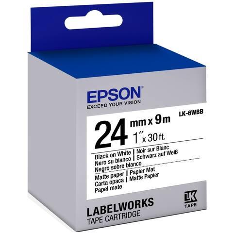 "Epson LabelWorks Matte Paper LK Tape Cartridge ~1"" Black on White"