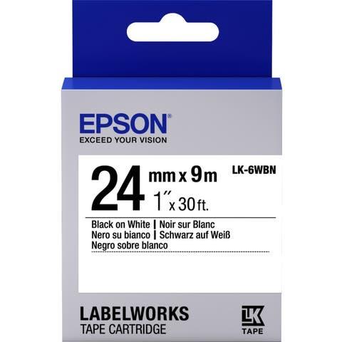"Epson LabelWorks Standard LK Tape Cartridge ~1"" Black on White"