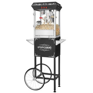 Great Northern Popcorn Black 8 Ounce GNP-800 All-Star Popcorn Popper Machine with Cart