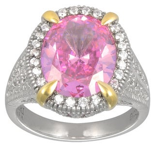 Sterling Silver Multi-color Cubic Zirconia Chunky Cocktail Ring