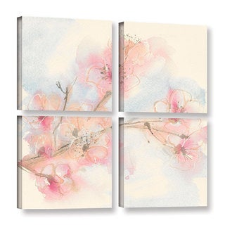 Chris Paschke's 'Pink Blossoms II' 4 Piece Gallery Wrapped Canvas Square Set