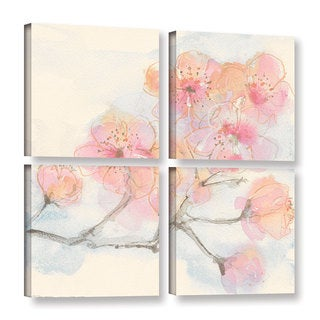 Chris Paschke's 'Pink Blossoms III' 4 Piece Gallery Wrapped Canvas Square Set