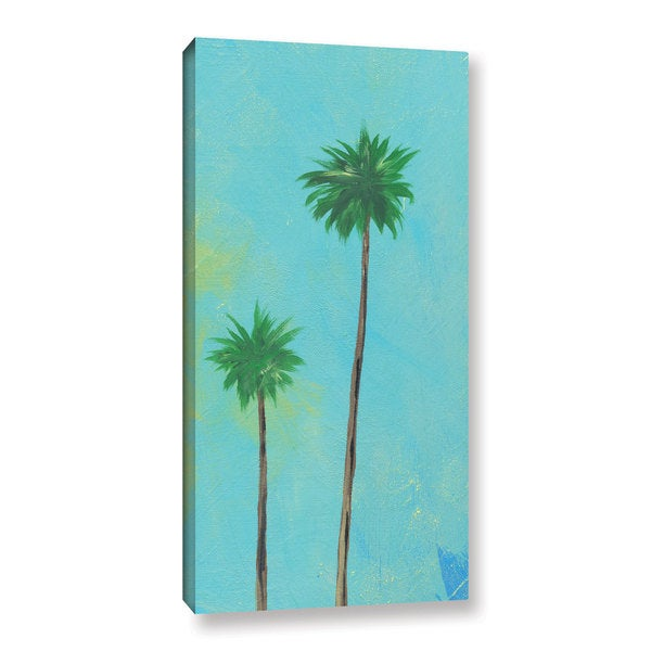 Jan Weiss's 'Aqua Twin Palms' Gallery Wrapped Canvas