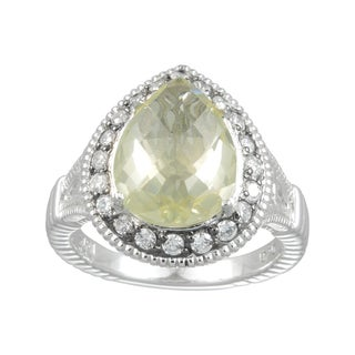 Sterling Silver Lemon Quartz and White Cubic Zirconia Ring