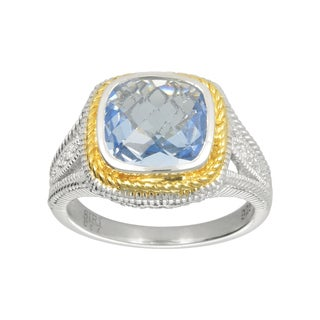 14k Yellow Gold and Sterling Silver Blue Synthetic Quartz and Cubic Zirconia Ring