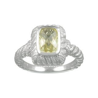Sterling Silver Lemon Quartz and Cubic Zirconia Fashion Ring