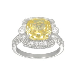 Sterling Silver Yellow and White Cubic Zirconia Ring
