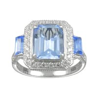 Sterling Silver Synthetic Blue Quartz and Cubic Zirconia Ring