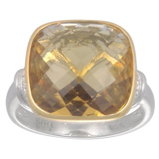 14k Yellow Gold and Sterling Silver Champagne Quartz and Cubic Zirconia Ring Set