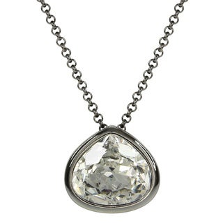 Black Rhodium-plated Crystal Pear Shape Pendant