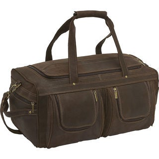 LeDonne Leather Distressed Leather 21-inch Carry On Duffel Bag