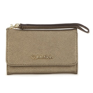 Calvin Klein Saffiano Leather Antique Bronze Metallic Cellphone Case