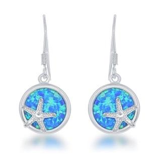 La Preciosa Sterling Silver Created Blue Opal Starfish Circle Dangle Earrings