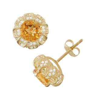 Gioelli Gold over Silver Citrine and Created White Sapphire Claw Earrings