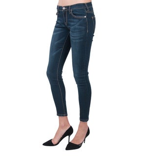 Standards & Practices Minnie Blast Pattern Dark Blue Wash Super Skinny Jeans