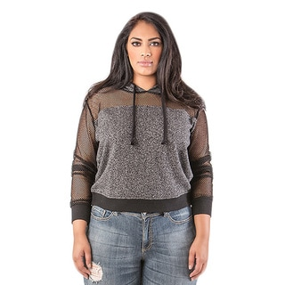 Poetic Justice Plus Size Anita French Terry Mesh Sleeve Pull Over Hoodie