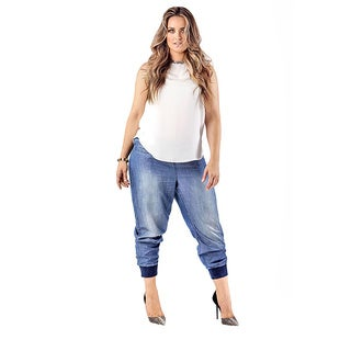 Standards & Practices Marcie Plus Size Indigo Rib Bottom Button Front Jogger Pants