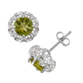 Gioelli Sterling Silver Peridot and Created White Sapphire Claw Earrings