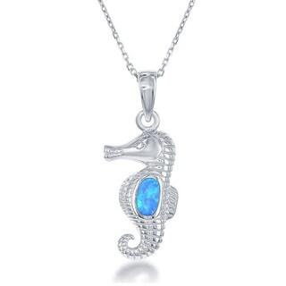 La Preciosa Sterling Silver Created Blue Opal Seahorse Pendant