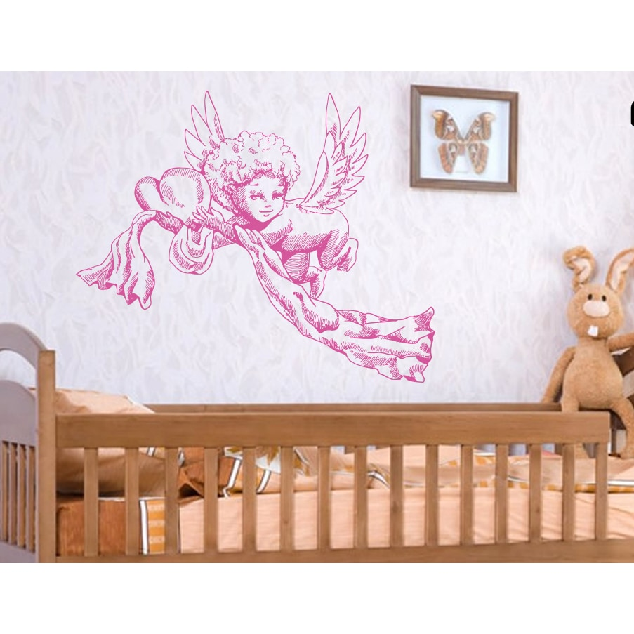 Angels wings heart Love Wall Art Sticker Decal Pink (22 i...