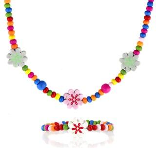 Crummy Bunny Flower Wooden Necklace and Bracelet Set