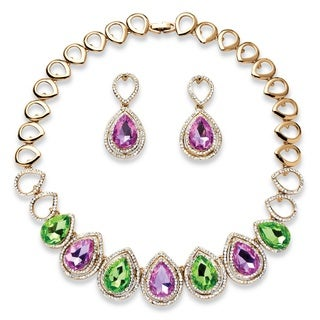 Pear-Cut Lavender and Green Crystal Double Halo Necklace and Earrings Set in Gold Tone Col
