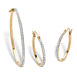 18k Gold over Silver Diamond Fascination Bracelet and Earrings Set