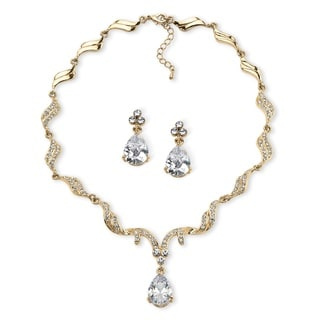 PalmBeach 30 TCW Pear-Cut Cubic Zirconia and Crystal Jewelry Set in Gold Tone Finish Glam CZ