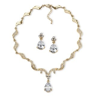 30 TCW Pear-Cut Cubic Zirconia and Crystal Jewelry Set in Gold Tone Finish Glam CZ
