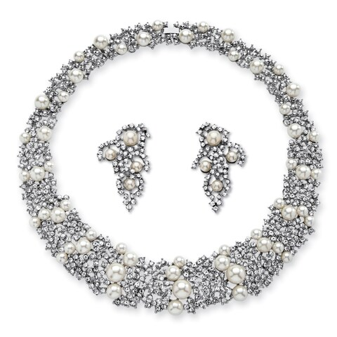 Silver Tone Collar Necklace (23mm), Round Simulated Pearls, 16""