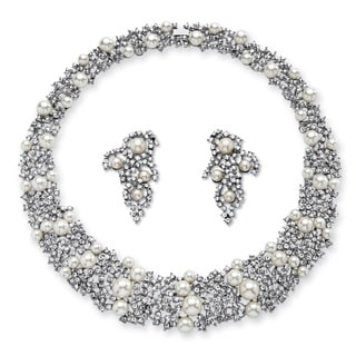 PalmBeach Simulated Pearl and Crystal Choker Necklace and Earrings Set in Rhodium-Plated Finish Bold Fashion