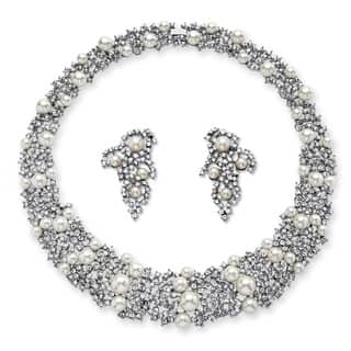 Simulated Pearl and Crystal Choker Necklace and Earrings Set in Rhodium-Plated Finish Bold|https://ak1.ostkcdn.com/images/products/11695978/P18620490.jpg?impolicy=medium