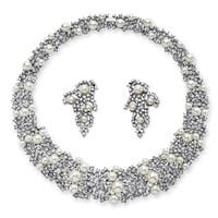 Simulated Pearl and Crystal Choker Necklace and Earrings Set in Rhodium-Plated Finish Bold